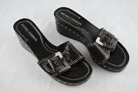 Michael Shannon Size 9.5 Women's Leather Open Toe Platform Wedge Shoe Sleek
