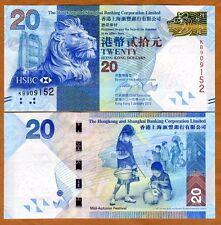 Hong Kong, $20, 2013, HSBC, P-212-New, UNC > Lion, Children