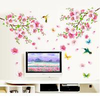 3D Room Peach Blossom Flower Butterfly Wall Stickers Vinyl Art Decal Decor Mural