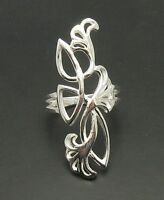LONG STERLING SILVER RING FLOWER SOLID 925 NEW SIZE G - X R000673 EMPRESS