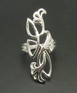 Long Stylish Sterling Silver Ring Solid 925 Flower Nickel FreeHandmade