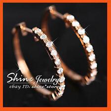 REAL 9K ROSE GOLD 20mm HOOP HUGGIES WEDDING DIAMOND SIMULANT LADY SOLID EARRINGS