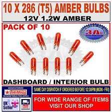 10 x CAR DASH LIGHT BULBS - CAPLESS - AMBER - 286 (T5) - 12V 1.2W NEW
