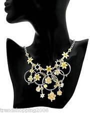 Üppige PILGRIM Kette Collier Swarovski Elements, Blüten. Ringe, gelb, versilbert
