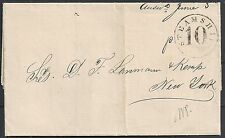 Panama 1860 folded letter to New York