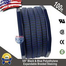"100 FT. 5/8"" Black Blue Expandable Wire Sleeving Sheathing Braided Loom Tubing"