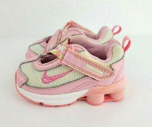 Nike Baby Girl Shox Size 3C Pink White Hook Loop Shoes