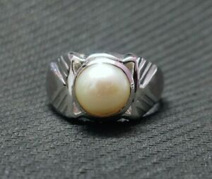 Pearl Ring Men 9 mm Round pearl Band Mens pearl ring mens Silver Heavy ring