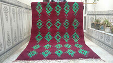 Antique Moroccan Berber Rug Beni Ourain Wool Rug Purple+Green Carpet