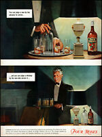 1940 Man serving Four Roses whiskey bottle glasses vintage art print ad adL53