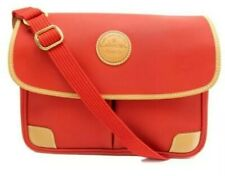 EUC LANCEL men's orange sacoche bandouliere messenger bag w/leather trim & strap