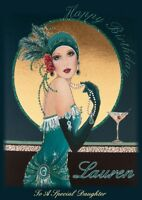 personalised birthday card Art Deco Lady any name/age/relation.