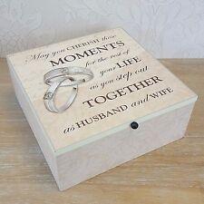 Memory Keepsake Cream Ivory Wooden Moments Memories Box Wedding Gift