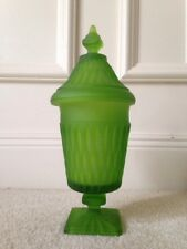 Indiana Glass, Mt. Vernon Green Frosted Candy Dish with Lid - EUC