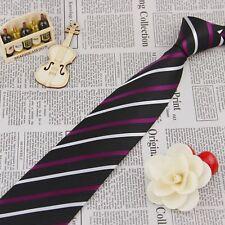 Tie 100% Silk Classic Men Black White Purple Stripes Jacquard Woven Necktie FS37