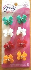 "Girls Goody 8 Piece Solid Colors Butterfly Jaw Hair Clips 1"" Grn Wht Red Orange"
