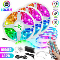 49FT RGB Flexible 900 LED Strip Light SMD Remote Fairy Lights Room TV Party Bar