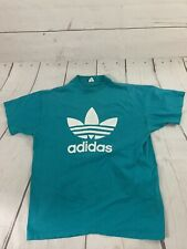 Vintage 80s Adidas Trefoil Double Sided T Shirt Tee XL Single Stitch Teal Green
