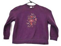 Classic Elements Women's Large 14-16 Vintage Long Sleeve Floral Sweatshirt