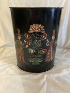 Vintage Victorian Design Metal Trash Can Black Oval Wastebasket Umbrella Holder