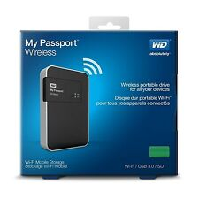 WD 500GB My Passport Wireless WiFi USB 3.0 SD Card slot Portable Hard Drive