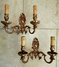 Pair Quality Heavy Vintage French Gilt Bronze Candle Sconce Wall Lights