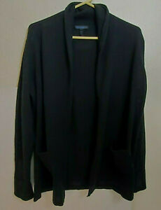 Vtg Womens Mantovani 100% Cashmere Cardigan Sweater BLACK Made In Italy LARGE