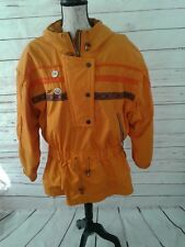 PASSPORT Women's Large VINTAGE  80's Bright Ski Jacket Coat Vintage Resort Pins