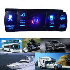 4 Gang Rocker Switch Panel Circuit Breaker LED Voltmeter  For Car Marine Boat RV