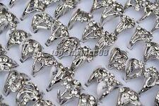 Wholesale Lots 50pcs Jewelry CZ Rhinestone Silver Plated Woman Rings FREE