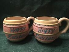 2 Omnibus Fitz And Floyd Hand Painted Easter Mug Cup 1996