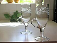 2 IRISH Coffee Glass footed Mugs ETCHED WHEAT low profile handle