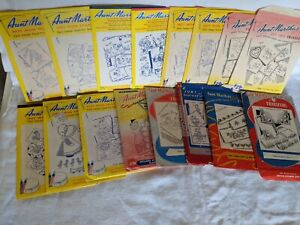 Lot of 16 Aunt Martha's Hot Iron Transfer Patterns Embroidery Craft Vintage