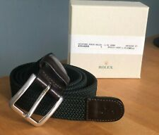 ROLEX Woven Green Belt with leather and Brass Fitting Brand New Authentic XL