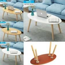 Home Oval Top Table Coffee Table Living Room Tea Desk Wood Leg Hallway Furniture