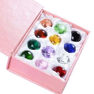 LONGWIN Set 12pcs Colorful Crystal Paperweight Diamond Shaped 25mm Wedding Decor