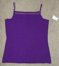 New Christopher & Banks Medium Sleeveless Shirt Purple Tank Top Lace Trim Shell
