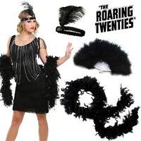 Women's Roaring 20s Flapper Girl Costume Accessories Gatsby Feather Boa Fan Set