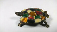 Brass Body Turtle Tortoise Stained Glass Color Look Shell Trinket Box Hinged Lid