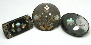 "3Antique Horn Buttons w Shell & Brass Inlay Designs  11/16 -3/4"""