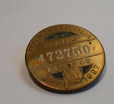 Vintage Licensed Chauffer New York Badge Expired July 1st 1927 No:472750