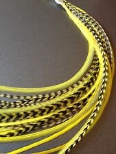 Lot 10 Yellow Grizzly Feathers Hair Extensions long skinny striped Real YELLOW