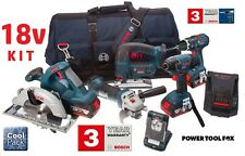 5 ONLY Bosch 18V Cordless TOOL KIT- 3x4.0AH Batteries 0615990G8K 3165140803700 V