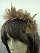 tan brown feather headband fascinator headpiece wedding party race ascot