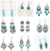 Vintage Women Boho Tibet Silver Ethnic Tassel Turquoise Dangle Long Earrings hot