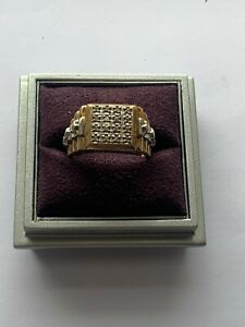 """""""Large 9ct Solid Gold & Diamond Rolex Style Signet Ring"""" Heavy 9.7g"""