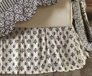 Elysee Black on Cream French Country Fleur-de-lis Bed Skirt Dust Ruffle King
