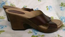 Dansko Womens EU 41 US 10.5 Wedge Sandal Slide Brown Leather Cross Strap Unworn