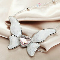18K White Gold Filled Lab-Created Crystal & Opal Pink Heart Butterfly Necklace