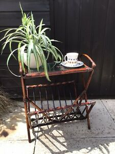 Vintage Retro Midcentury Style Bamboo Side Table (with glass)  Magazine Rack